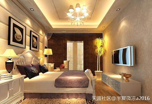 【廊坊华庭粉饰】卧室石膏板吊顶效果图 给你纷歧样的视觉享受